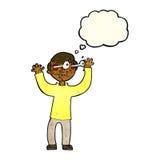 Karikaturmann mit Augen, knallend aus Kopf mit Gedankenblase heraus Lizenzfreie Stockbilder