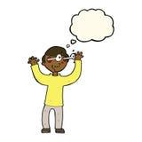 Karikaturmann mit Augen, knallend aus Kopf mit Gedankenblase heraus Stockfoto