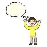 Karikaturmann mit Augen, knallend aus Kopf mit Gedankenblase heraus Lizenzfreies Stockbild