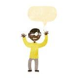 Karikaturmann mit Augen, knallend aus Kopf mit Spracheblase heraus Lizenzfreie Stockbilder