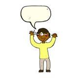 Karikaturmann mit Augen, knallend aus Kopf mit Spracheblase heraus Stockbilder