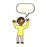 Karikaturmann mit Augen, knallend aus Kopf mit Spracheblase heraus Lizenzfreies Stockfoto