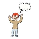 Karikaturmann mit Augen, knallend aus Kopf mit Spracheblase heraus Stockfotografie
