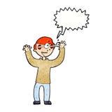 Karikaturmann mit Augen, knallend aus Kopf mit Spracheblase heraus Stockfotos