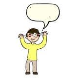 Karikaturmann mit Augen, knallend aus Kopf mit Spracheblase heraus Stockbild