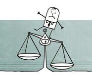 Karikaturmann mit Balance und Ungerechtigkeit lizenzfreie abbildung