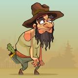Karikaturmann mit Bart in einem alten Hut schleicht durch das Dorf vektor abbildung