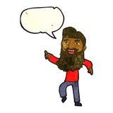 Karikaturmann mit Bart lachend und mit Spracheblase zeigend Stockfoto
