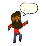 Karikaturmann mit Bart lachend und mit Spracheblase zeigend Stockbild