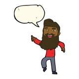 Karikaturmann mit Bart lachend und mit Spracheblase zeigend Lizenzfreies Stockbild