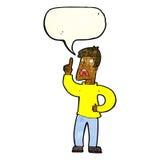 Karikaturmann mit Beanstandung mit Spracheblase Stockfotos