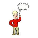 Karikaturmann mit Beanstandung mit Spracheblase Stockbilder