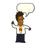 Karikaturmann mit guter Idee mit Spracheblase Stockfotografie