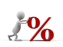Karikaturmann mit Prozentsymbol. Stockfotografie