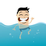 Karikaturmann schwimmt Stockfotografie