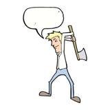 Karikaturmann-schwingaxt mit Spracheblase Lizenzfreie Stockfotos