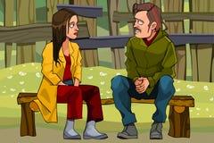 Karikaturmann und -frau finden das Verhältnis heraus, auf einer Bank zu sitzen stock abbildung