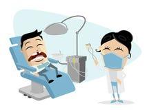 Karikaturmann am Zahnarzt stock abbildung
