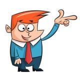 Karikaturmann zeigt Finger auf etwas Lizenzfreie Stockbilder