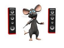 Karikaturmaus, die mit Mikrofon und großen Sprechern singt Lizenzfreies Stockfoto