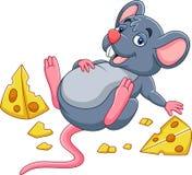 Karikaturmaus mit einem Käse und einem vollen Bauch lizenzfreie abbildung