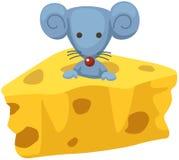 Karikaturmaus mit einem Stück Käse vektor abbildung