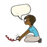 Karikaturmädchen, das Computerspiele mit Spracheblase spielt Lizenzfreie Stockbilder