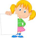 Karikaturmädchen, das leeres Papier hält Stockfotos