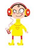 Karikaturmädchen in einer gelben Strickjacke in den Kopfhörern mit dem Spieler Stockbilder