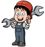 Karikaturmechaniker, der einen enormen Schlüssel hält Stockbild