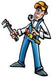 Karikaturmechaniker mit Hilfsmitteln lizenzfreie abbildung