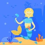 Karikaturmeerjungfrau mit Suppenschöpflöffel und -algen Charakter auf dem Hintergrund der Seelandschaft Unterwasserillustration lizenzfreie abbildung