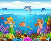 Karikaturmeerjungfrau unter dem Meer Stockbild