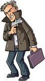 Karikaturmittel mit Gewehr und Koffer Stockfoto
