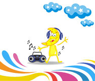 Karikaturmonat, der zur Musik tanzt Lizenzfreies Stockfoto