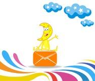 Karikaturmonat empfing einen Umschlag und das Sitzen auf ihm stock abbildung