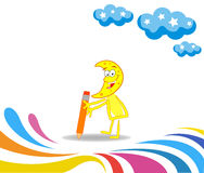 Karikaturmonat lernend, mit einem Bleistift zu zeichnen Lizenzfreies Stockbild