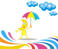 Karikaturmonat mit einem Regenschirm stock abbildung