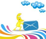 Karikaturmonat und ein Umschlag für das Senden Lizenzfreie Stockbilder