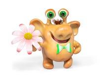 Karikaturmonster der Fantasie 3d mit Blume lokalisierte Wiedergabe Lizenzfreies Stockfoto