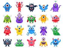 Karikaturmonster Nette glückliche Monster, Halloween-Maskottchen und lustige Mutantspielwaren Flacher Ikonensatz des furchtsamen  vektor abbildung