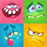 Karikaturmonstergesichter eingestellt Vektorsatz von vier Halloween-Monstergesichtern oder -avataras Druckdesign der Monstermaske lizenzfreies stockfoto