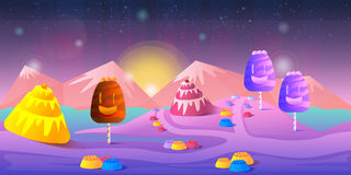 Karikaturmärchenlandschaft Süßigkeitslandillustration für Spieldesign Lizenzfreie Stockfotografie