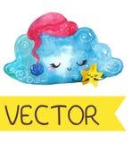 Karikaturnachtszene mit netter Wolke und Stern vektor abbildung