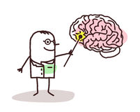 Karikaturneurologe mit Gehirn Stockfotografie