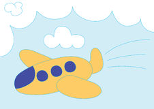 Karikaturorangenflugzeug Lizenzfreie Stockfotografie