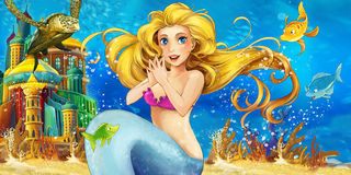 Karikaturozean und die Meerjungfrau stock abbildung