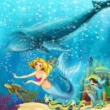 Karikaturozean und die Meerjungfrau in der Unterwasserkönigreichschwimmen mit Walen vektor abbildung