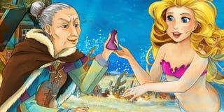 Karikaturozean und die Meerjungfrau, die mit einer alten Frau spricht vektor abbildung