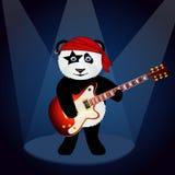 Karikaturpanda in Rock Bandana, der Rockmusik unter Scheinwerfern spielt Stockbild